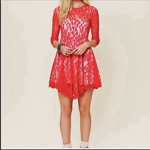 Free people Red lace long sleeve dress